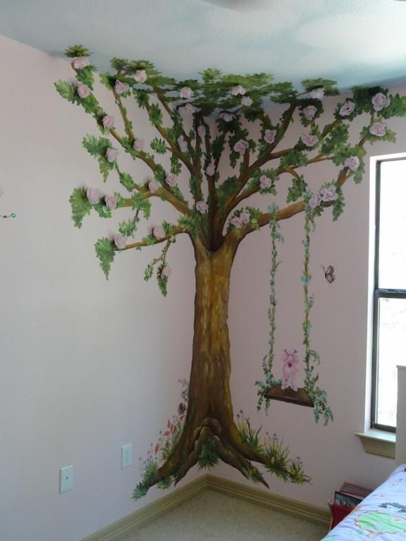 Children tree bedroom provided by artistic mural works for Rooms to go kids san antonio