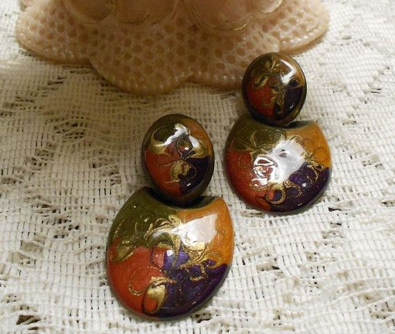 Vintage Retro Metal with Enamel Frosted by ViksVintageJewelry, $11.99