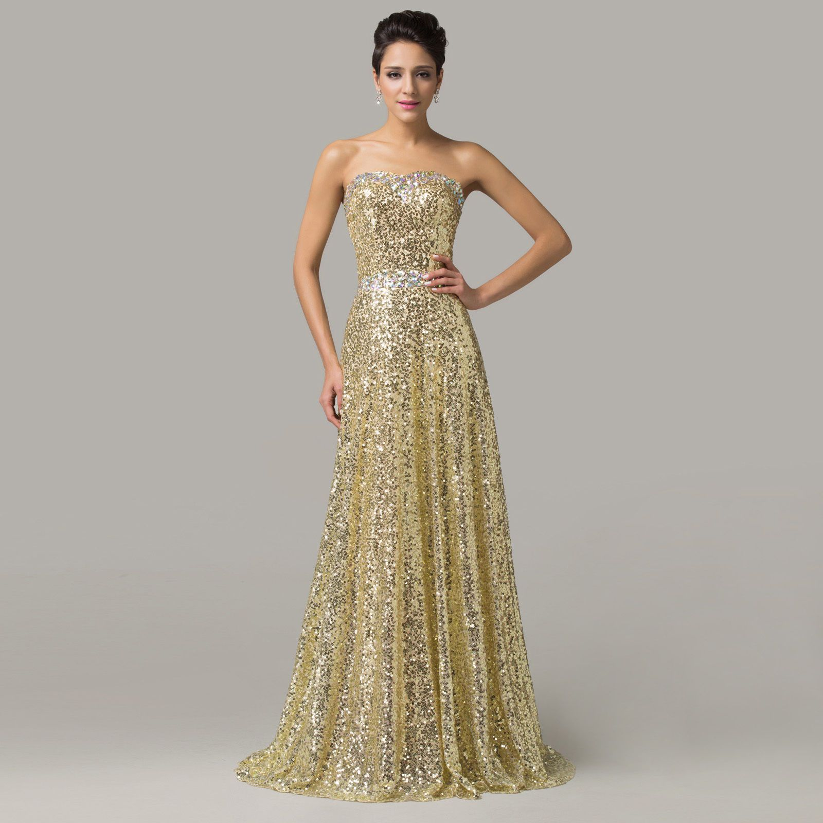 Glitter gold sequins ball gown evening bridemaid prom cocktail party