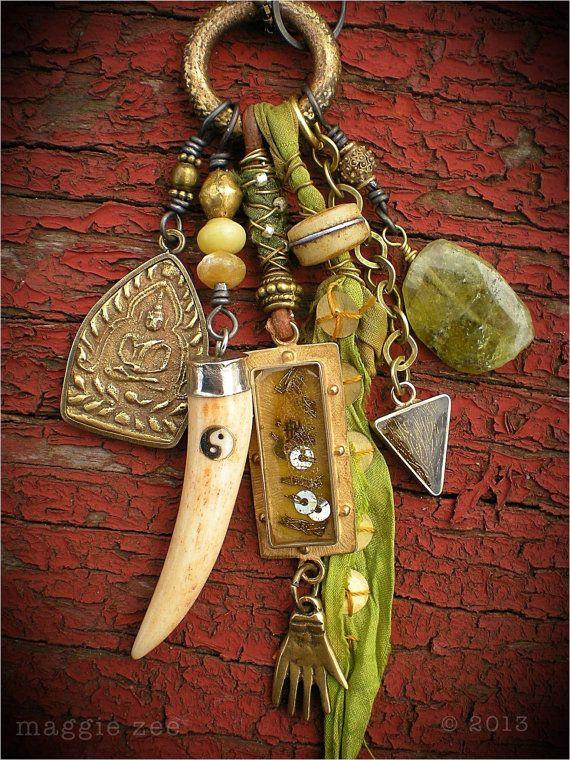 Amulet Jewelry Pendants Sothon: Green Equinox Shaman Healing Amulet Necklace