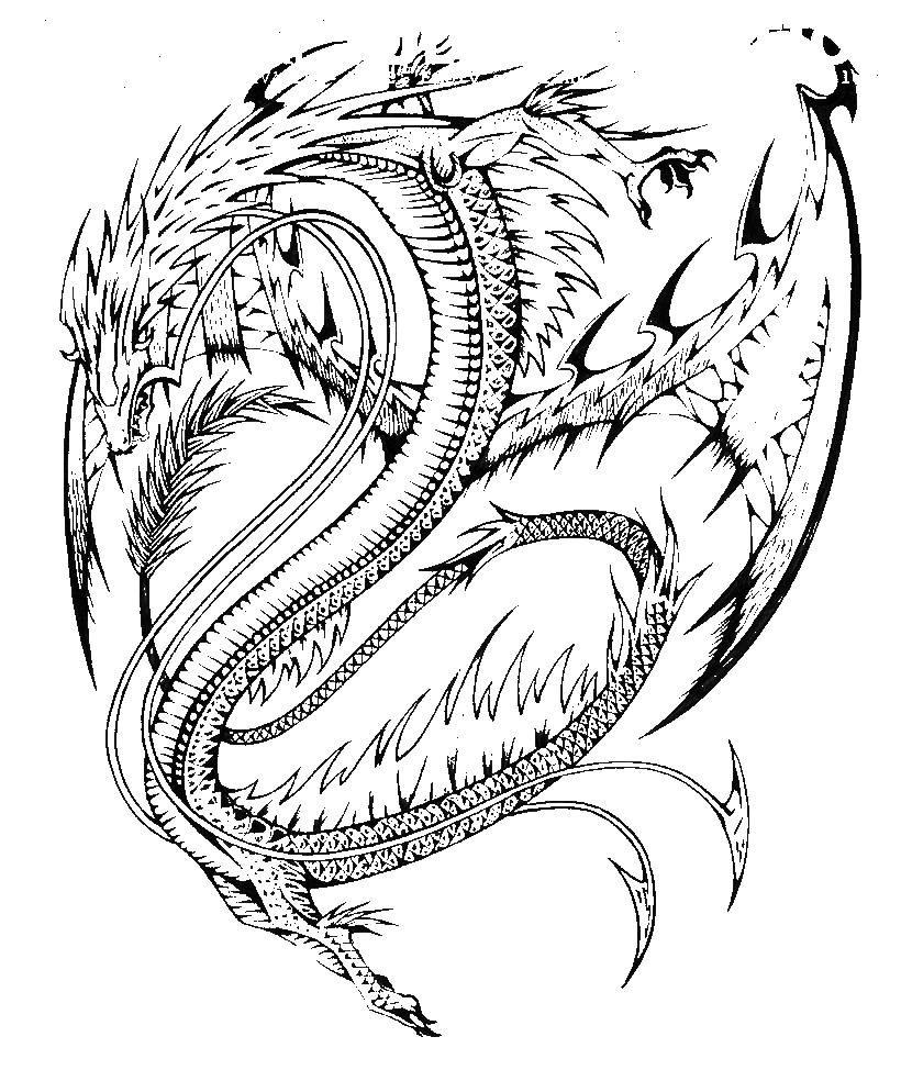 Злой дракон с шипами | Раскраски с животными, Рисунки для ...