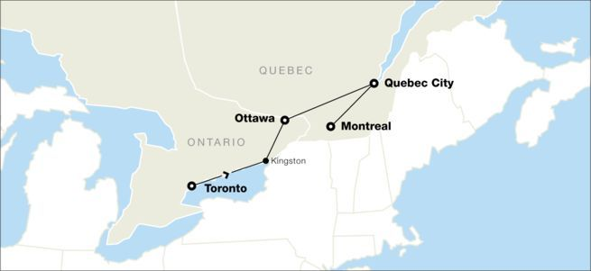 map of tour of eastern canada