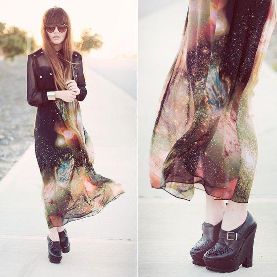 Galaxy Maxi Skirt, Supre Sheer Chiffon Shirt, Burberry Inspired Creeper Shoes, Silver Cuff, Round Sunglasses