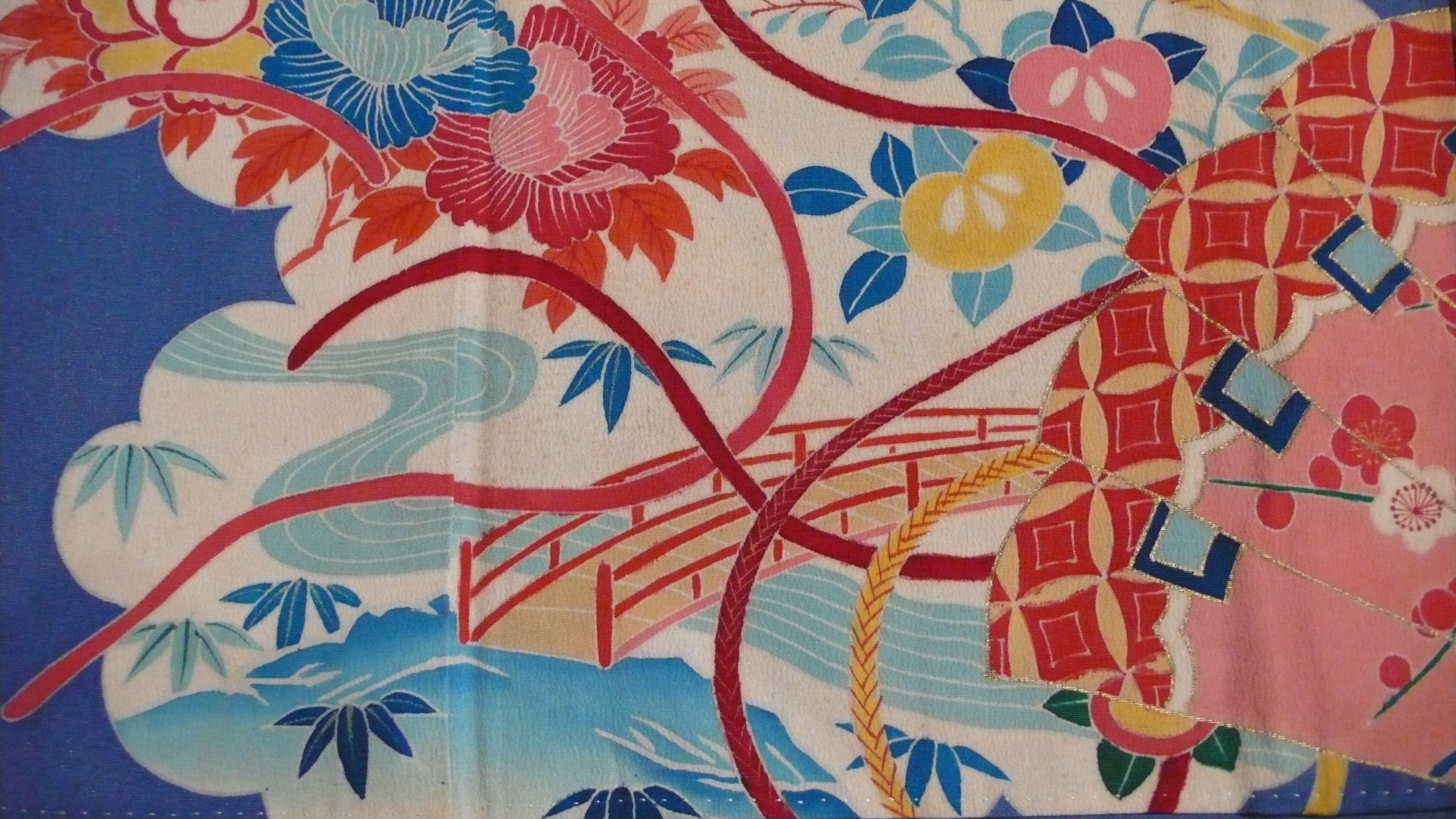 at the bottom of blue tomesode there's a little bridge you can cross , you'll find some plums. Handpainted detail on a kimono.  collection Carolina Breuer
