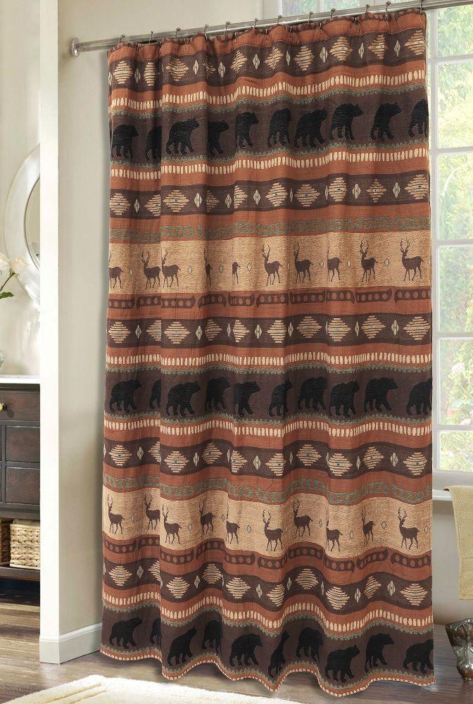 Autumn Trails Bear Deer Chenille Fabric Shower Curtain Rustic