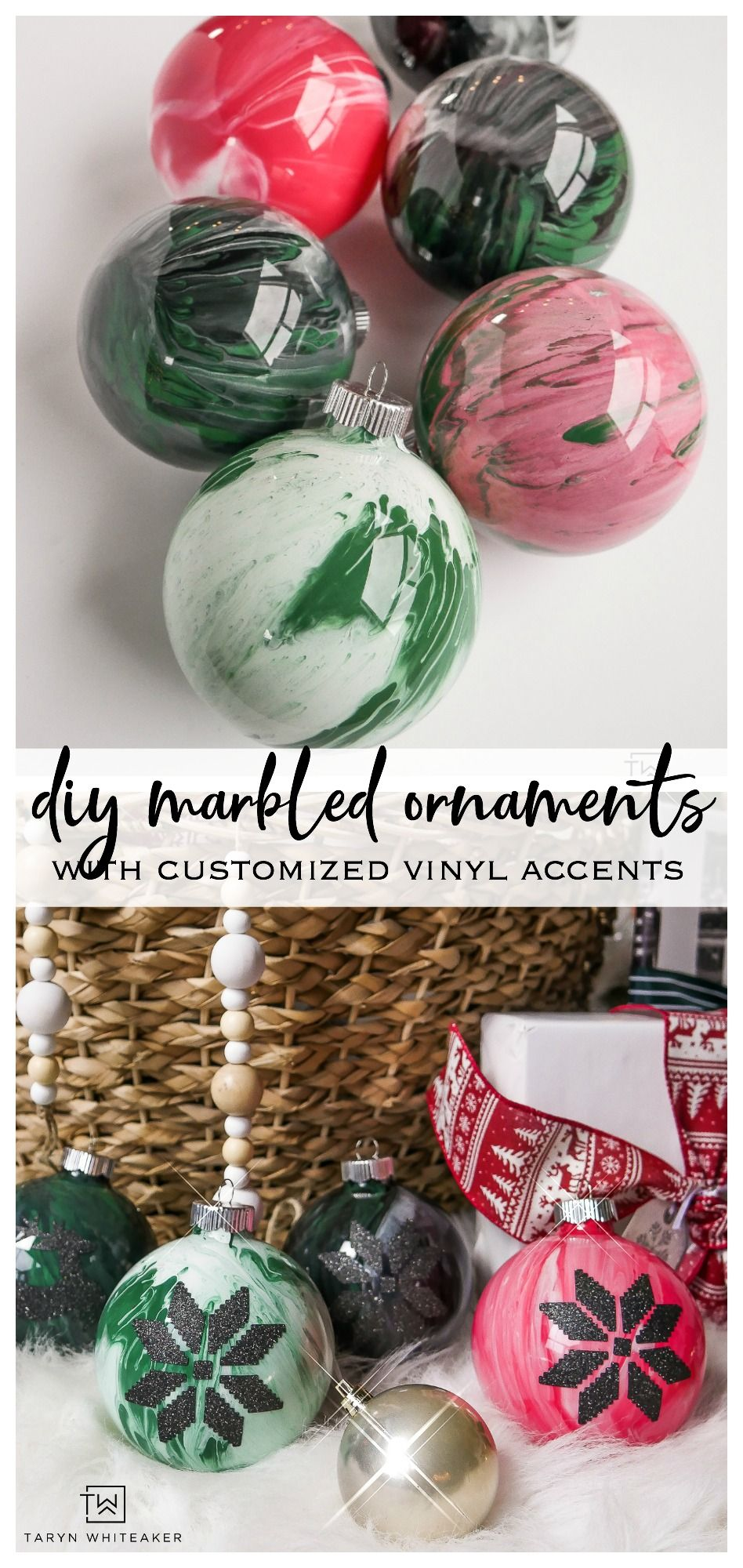 How To Make DIY Marbled Ornaments Glitter crafts