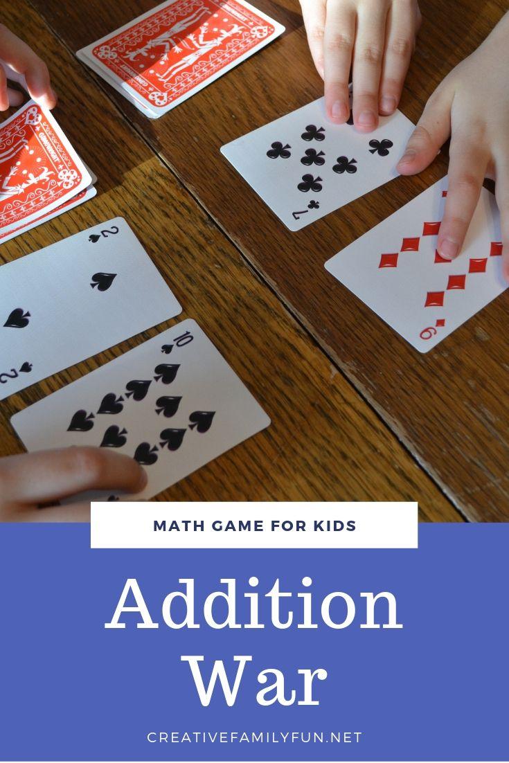 Addition war card game creative family fun math card