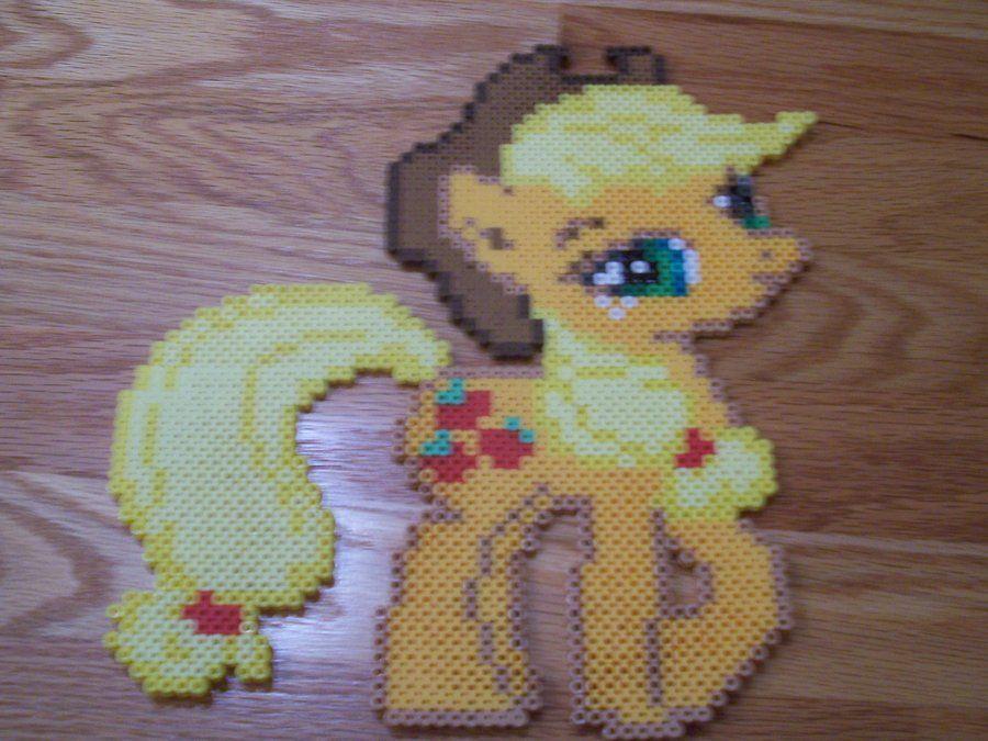 Applejack My little Pony perler beads  by simplyputmyself on deviantart