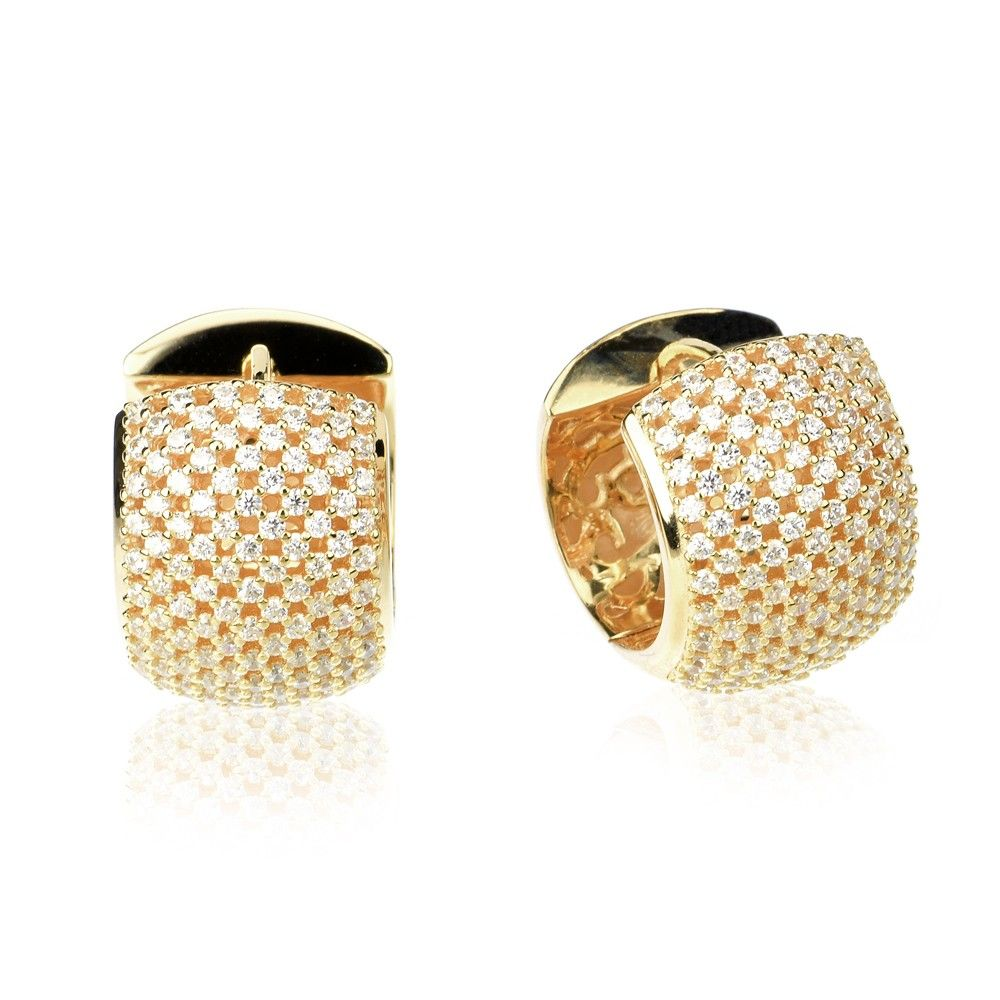242a920fc3 Sterling Silver 14K Rose Gold Plated Beautiful Pave CZ Shimmering Flat  Style Huggie Hoop Earrings | Lavish Collection | Rose gold plates, Jewelry  stores, ...