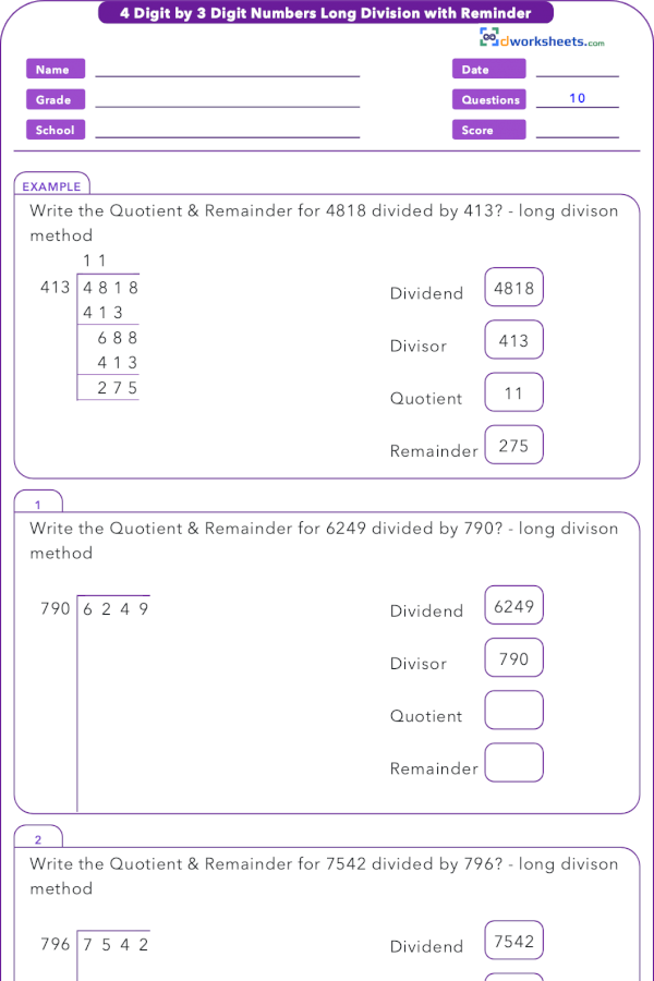 Learning Or Teaching 6th Grade Common Core Math Worksheet For 6 Ns B 2 With Solved Problem On 4 By 3 Digit Numbe Long Division Math Division Teaching 6th Grade