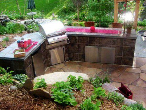Outdoor Küche mit Grill feuerstelle kompakt Garten Pinterest