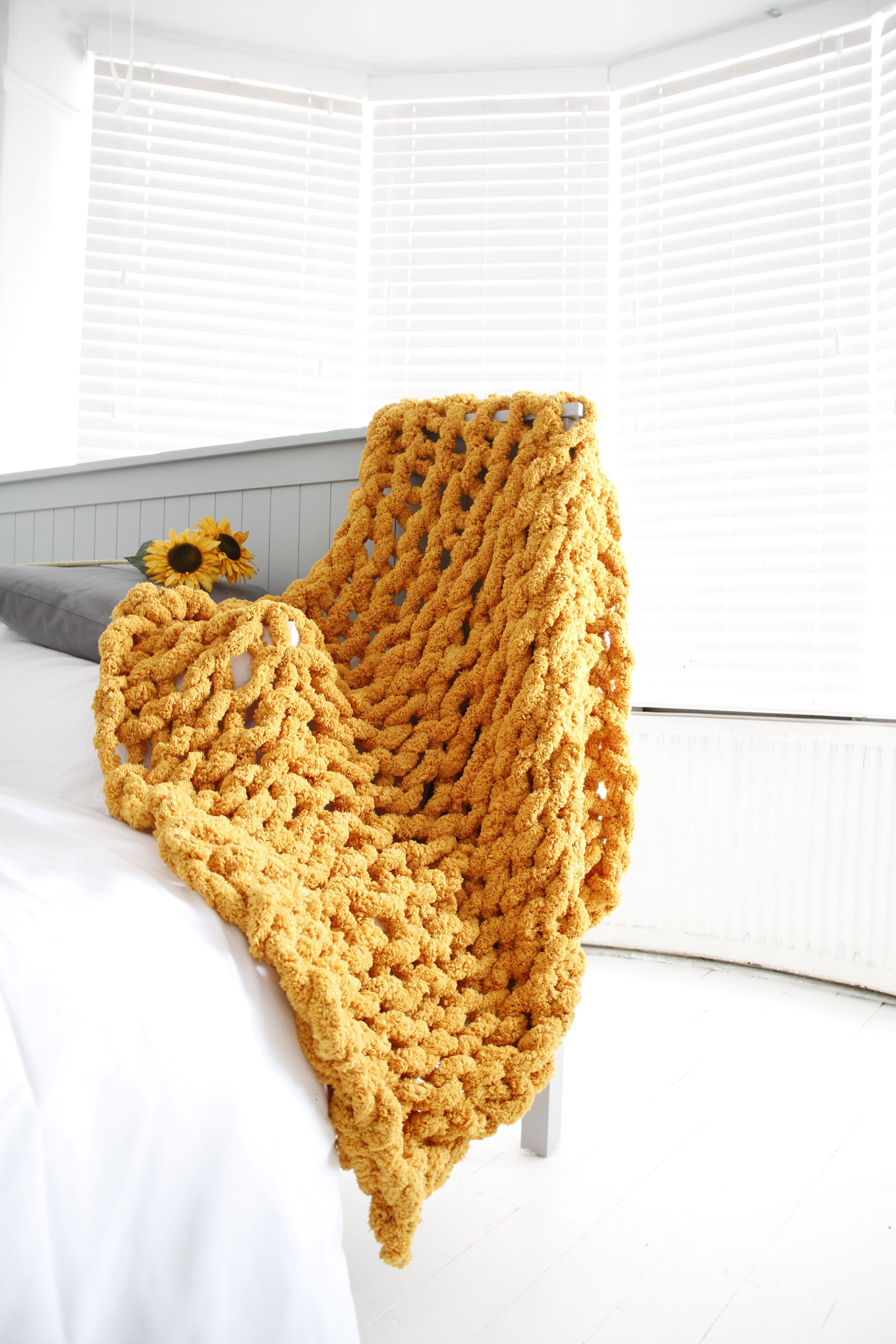 Chunky Knit Blanket in Chenille Yarn. Available in