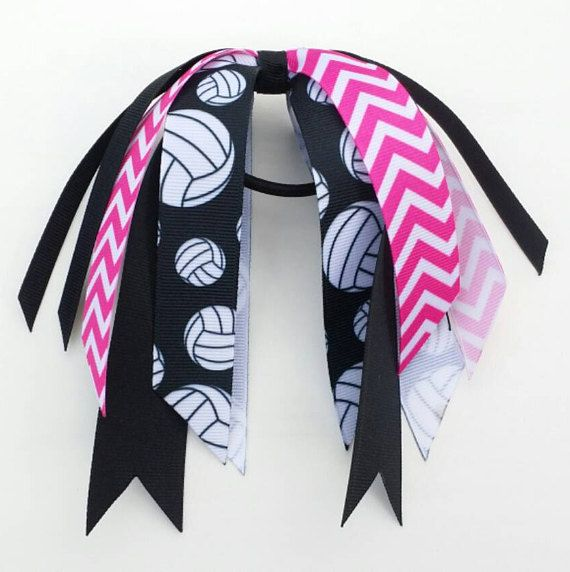 Pink Volleyball Bow Pink And Black Volleyball Hair Streamers Volleyball Bows Volleyball Hair Bows Volleyball Ribbon