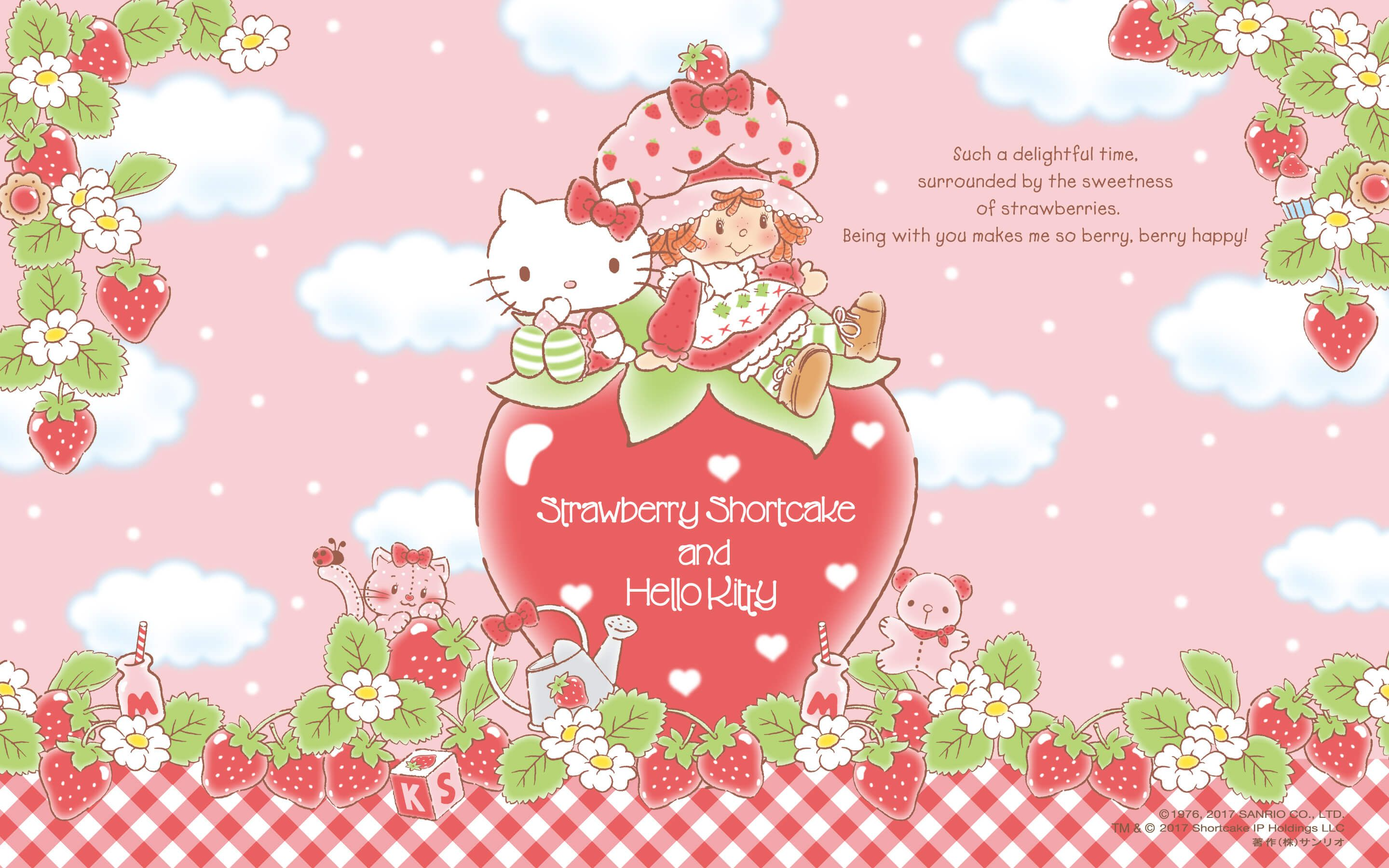 Strawberry Shortcake And Hello Kitty Wallpaper 2880x1800