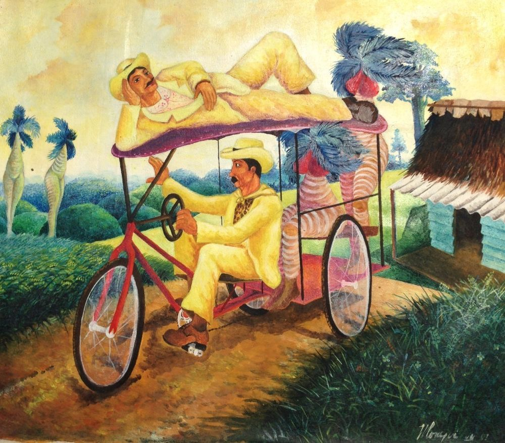CUBAN FOLK ART PAINTING NUDE Dali trees Landscape Romantic Arte ...