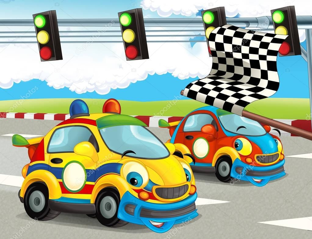 Cartoon Funny Happy Looking Racing Cars Race Track Illustration