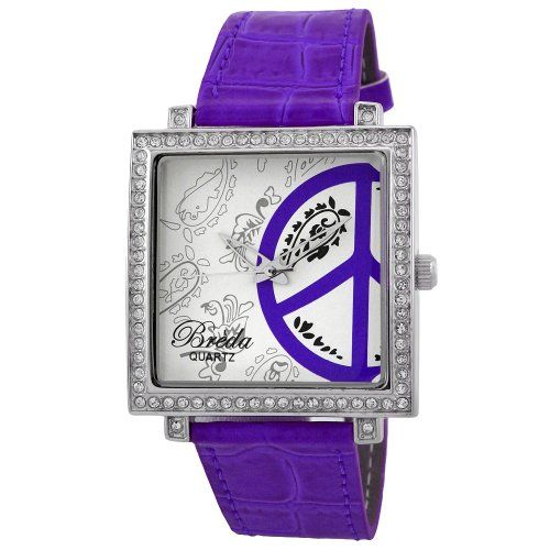 "Buy Breda Women's 6120_purple ""Phoebe"" Leather Peace-Sign Watch at best price in india 