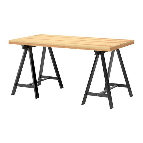 ikea office table tops. Ikea Vika Gruvan Desk With 2 Lilleby Trestles/legs Office Table Tops