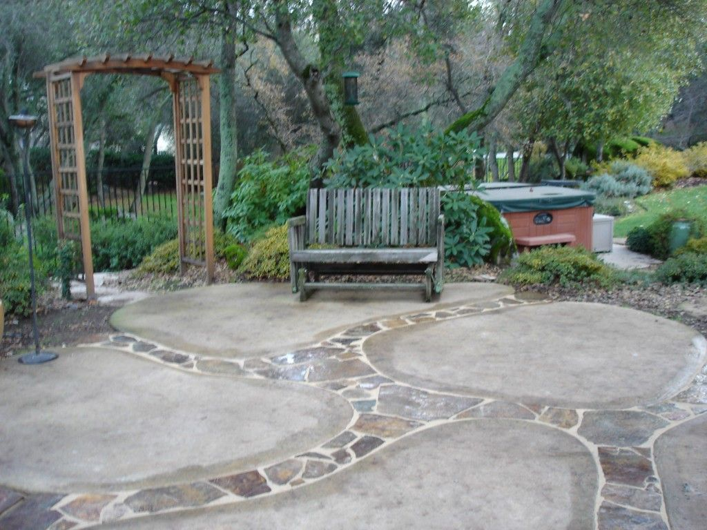 Superb Creative Concrete Patio Ideas For Patio Style: Outdoor Design With Flagstone  Patio Cost And Concrete Patio Ideas Also Patio Glider With Garden Landscape  And ...