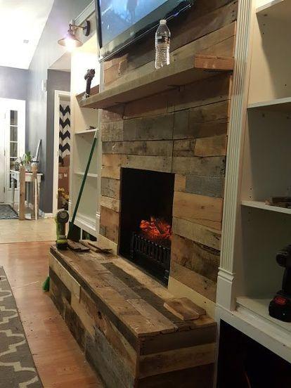 Diy Pallet Wood Fireplace Diy Fireplaces Mantels Pallet