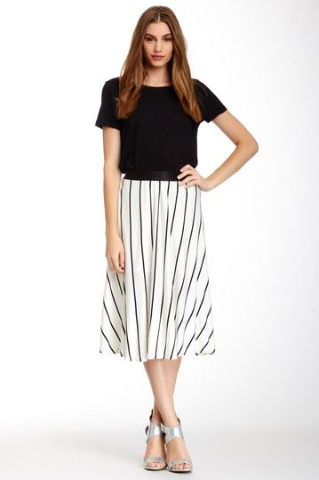 Kylie Lined Midi Skirt with Elastic Waist by S.H.E. on @HauteLook