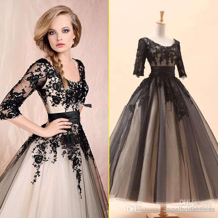 2014 Sery Black 3 4 Long Sleeves Lace Tea-Length Ball Gown Elbow ...