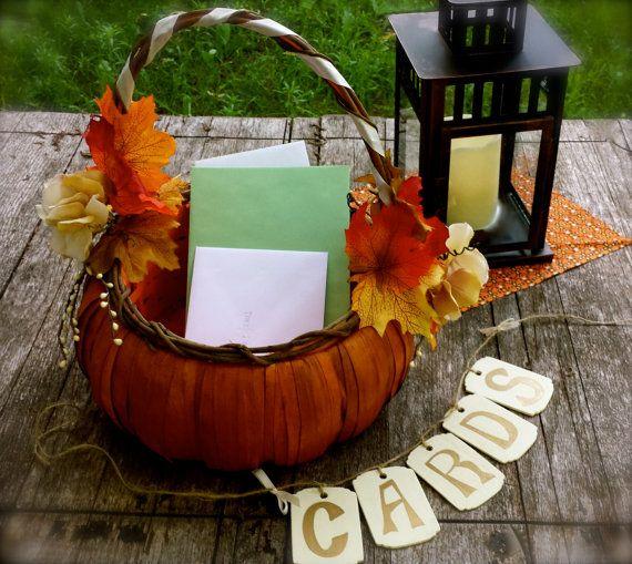Fall Wedding Card Box Ideas: Fall Wedding Card Or Program Basket Autumn Ivory And
