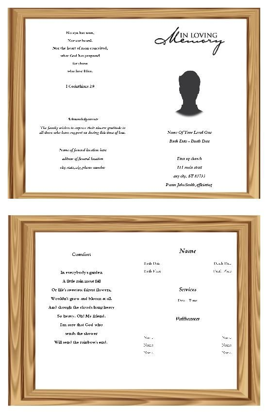 Memorandum Funeral Program Template Funeral, Program template - free funeral program templates for word