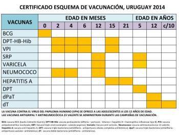 Certificado Esquema de Vacunación vigente desde 2014