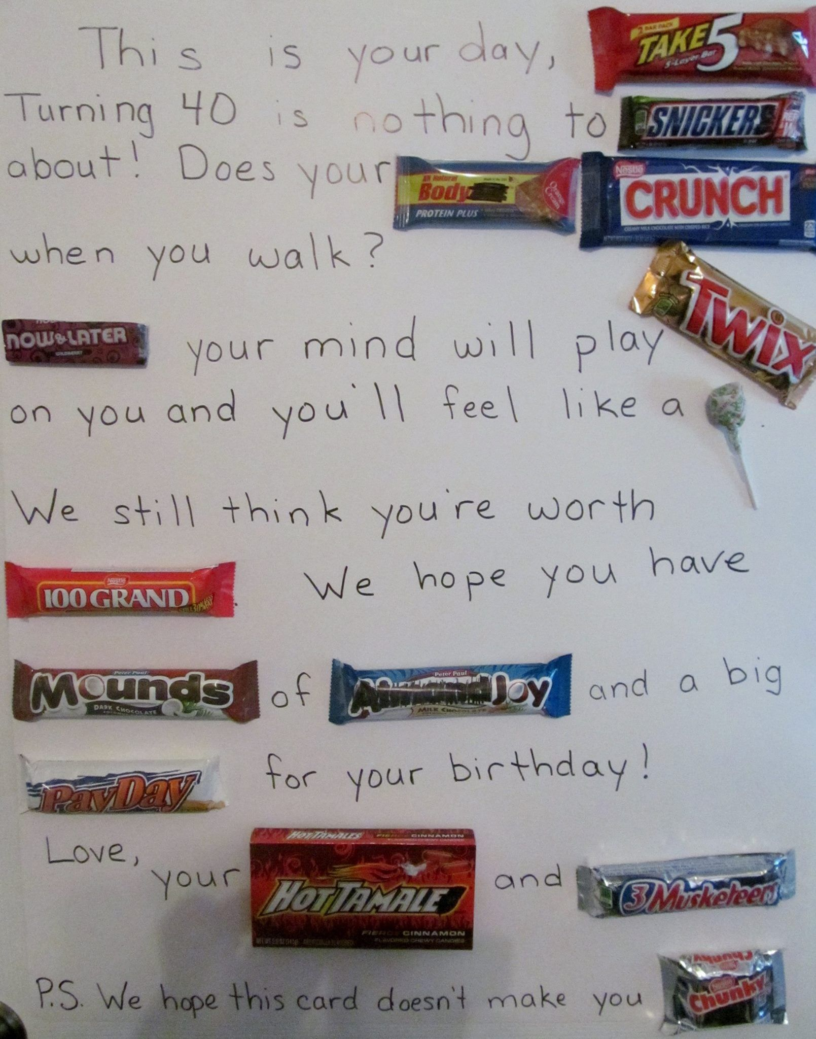40th Birthday Card Made Using Different Types Of Candy As
