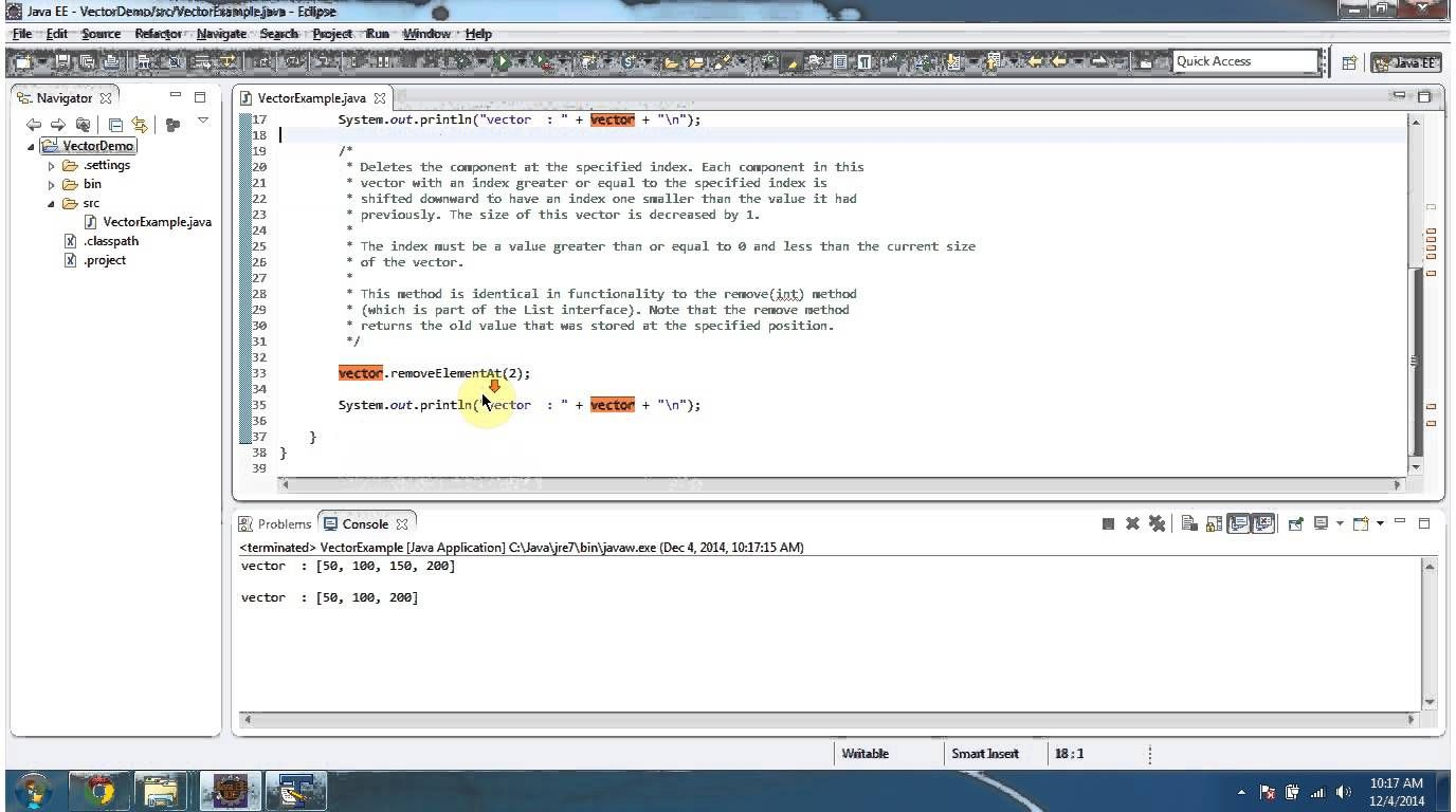 Java Collection Framework Vector Removeelementat Java