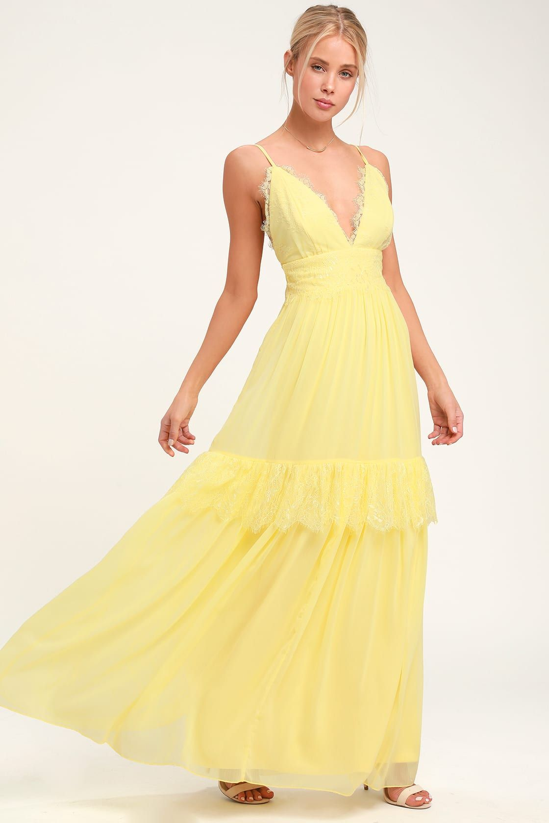 abd661abbe5d98 Lulus | Dream About Me Pale Yellow Lace Maxi Dress | Size Large ...