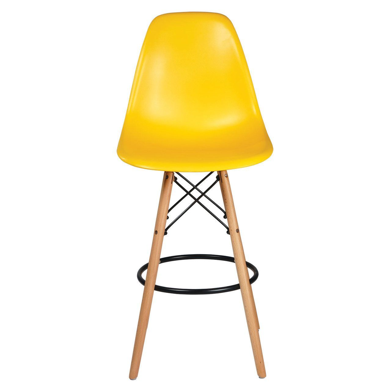 Eames Style Counter Stool, Yellow w/ Tall Wooden Base
