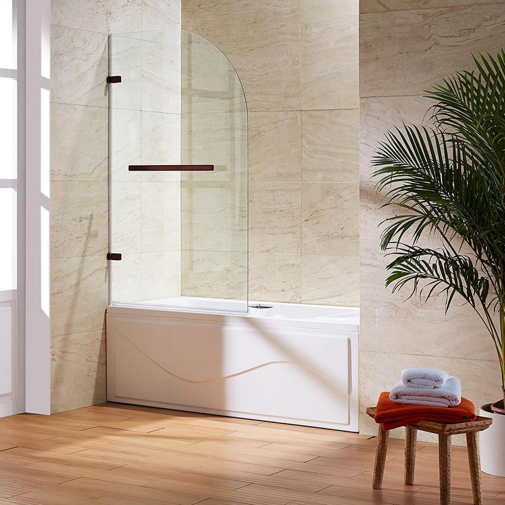 Oil Rubbed Bronze Clear Orion Clear Curved Bathtub Door 34 inch by ...