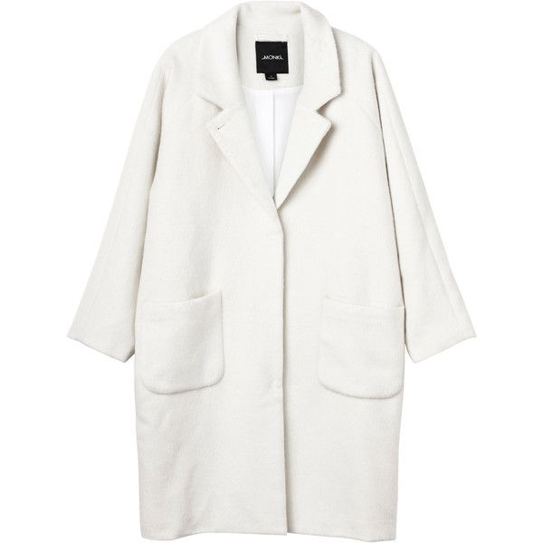 Monki Karen coat (€85) ❤ liked on Polyvore featuring outerwear, coats, jackets, coats & jackets, wilma white, oversized coat, monki and white coat