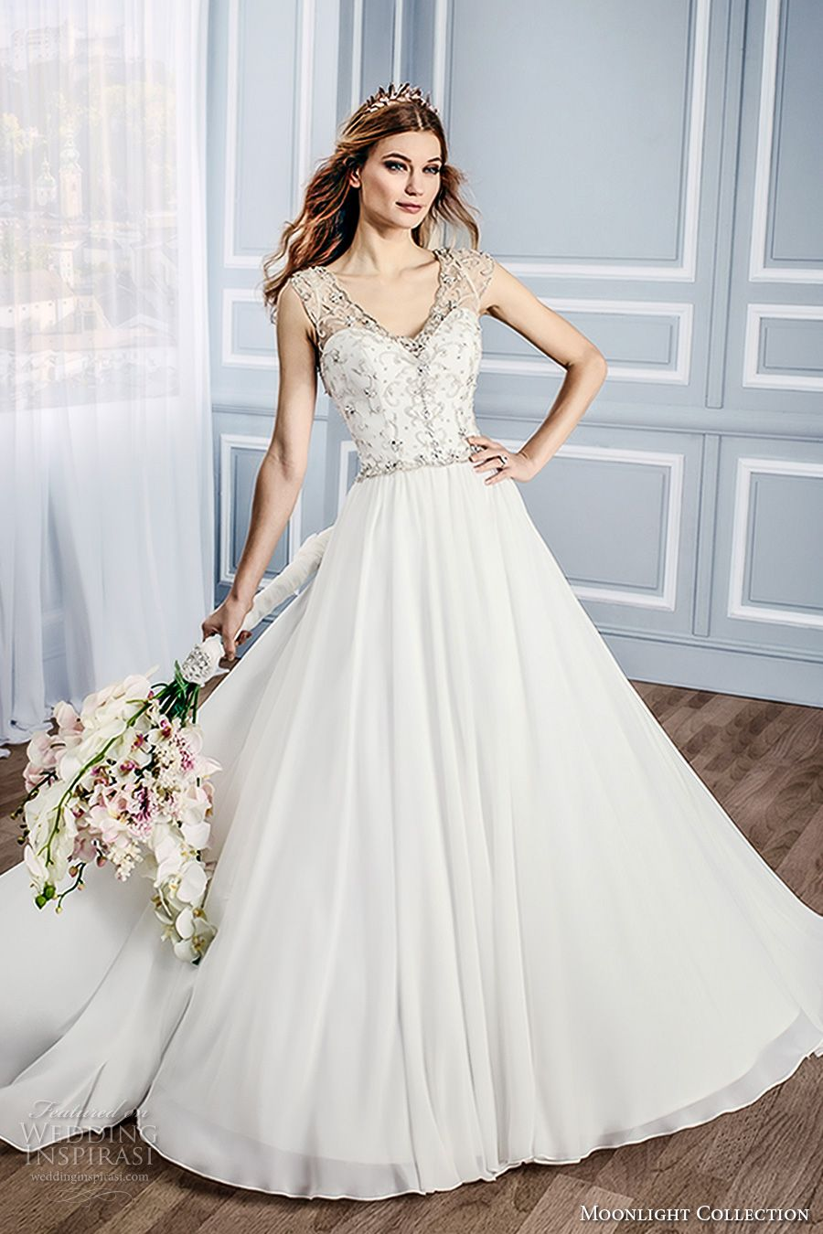 Moonlight collection fall wedding dresses chapel train