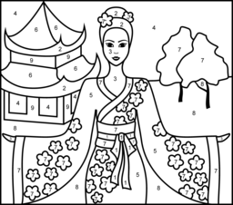 Princess Of China Printable Color By Number Page Princess Coloring Pages Coloring Pages Online Coloring