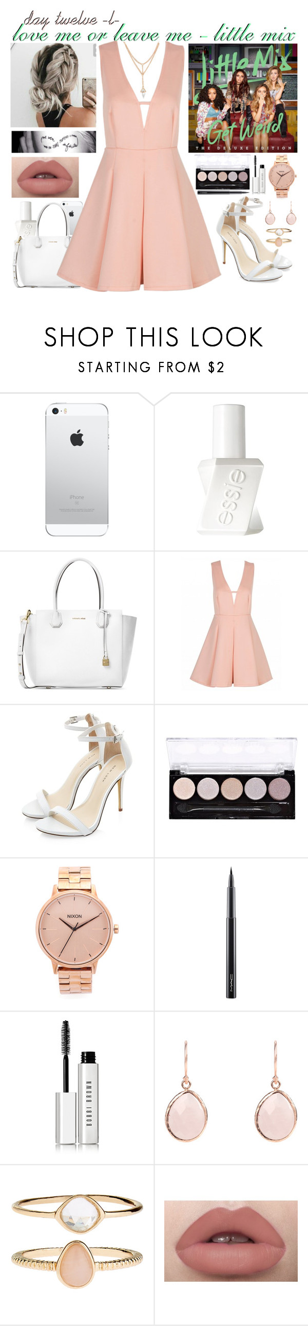 """""""day twelve, love me or leave me by little mix"""" by roxouu ❤ liked on Polyvore featuring Essie, Michael Kors, L.A. Colors, Nixon, MAC Cosmetics, Bobbi Brown Cosmetics, Accessorize, littlemix, music and byroxouu"""