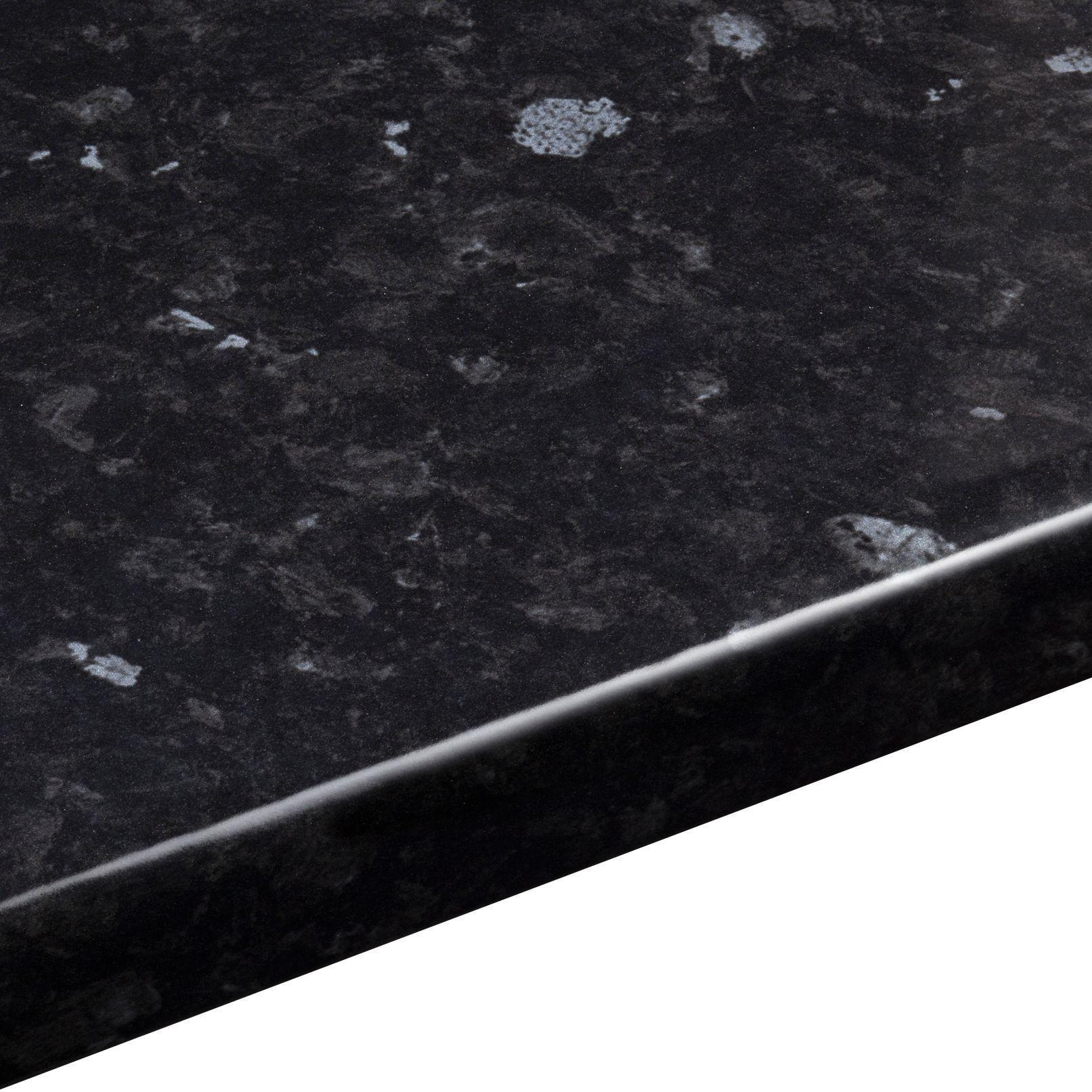 38mm Ebony granite Gloss Black Stone effect Laminate Round