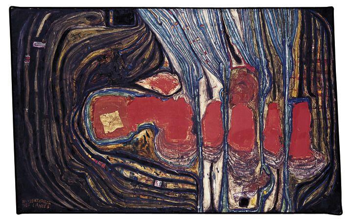Paintings - Hundertwasser LES FLAMMES DU GAZ ENSEMBLE AVEC LES FLAMMES DU SAINT ESPRIT  1957 cannes