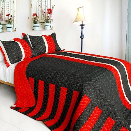 red black white striped teen bedding boy or girl fullqueen quilt set