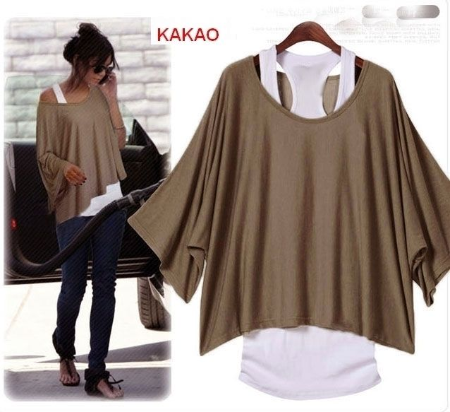 Details about 2 in1 Batwing One Shoulder Poncho With Tank