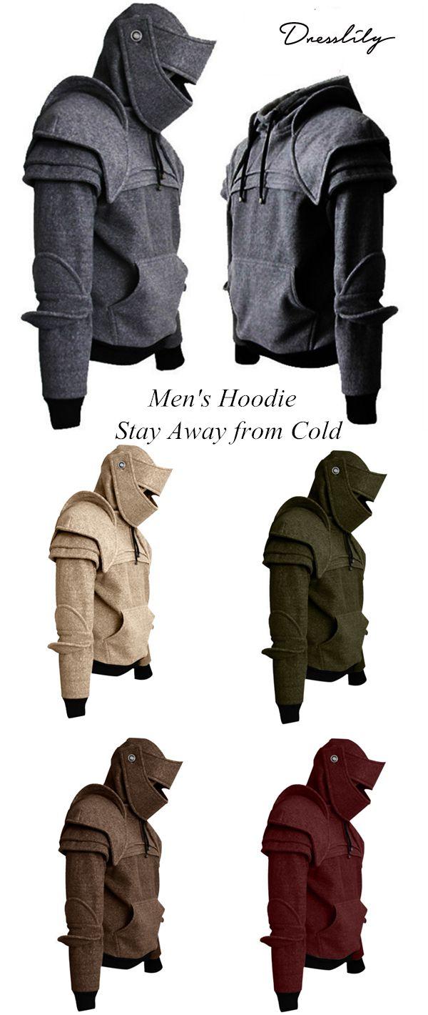 new product 2683a 22578 Buy 2 Get 30% Off. Men s Hoodie Retro Elbows Drawstring Solid Color.   dresslily  hoodie  men s