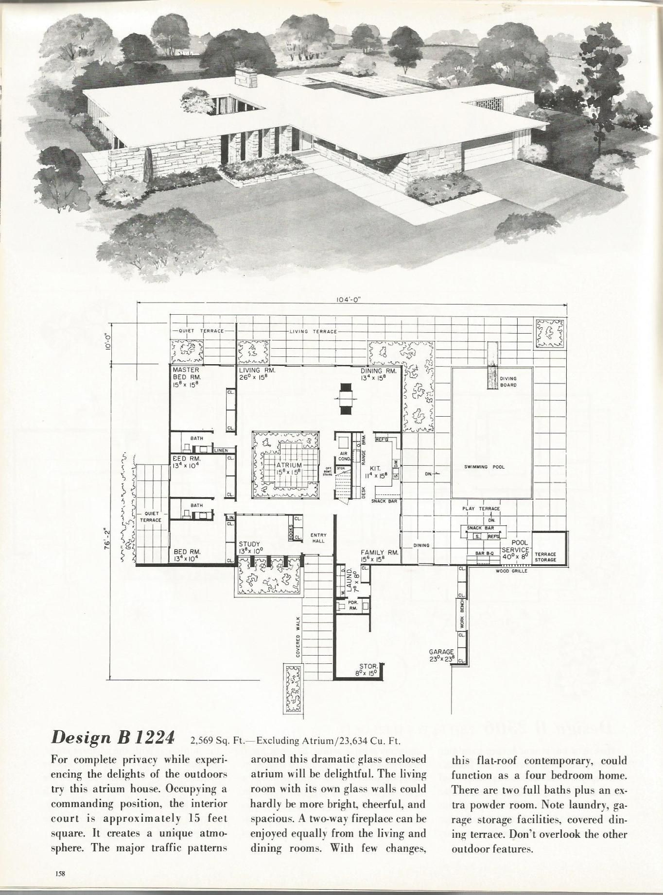 Gotta have an Atrium. Vintage House Plans, Mid Century Homes, 1960s on ranch blueprints, simple ranch floor plans, simple square house floor plans, ranch home design plans, simple one floor house plans, ranch home drawings, ranch home floor designs, ranch home interior, ranch home floor plans, ranch home pricing, ranch home construction plans, simple home floor plans, ranch house plans, ranch home elevations,