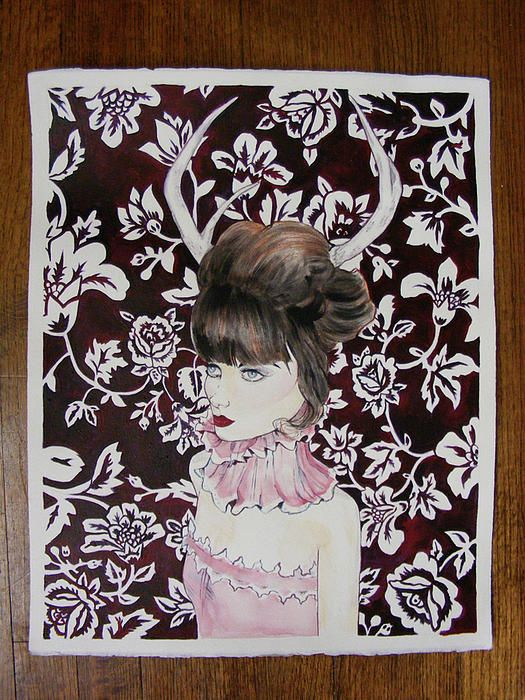 girl with antlers | Girl With Antlers Painting by Lynette May - Girl With Antlers Fine Art ...