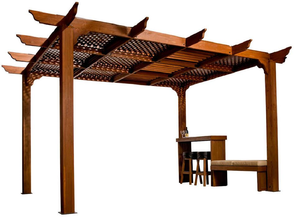 Pergola with lattice cover i like this natural looking for Shade arbor designs