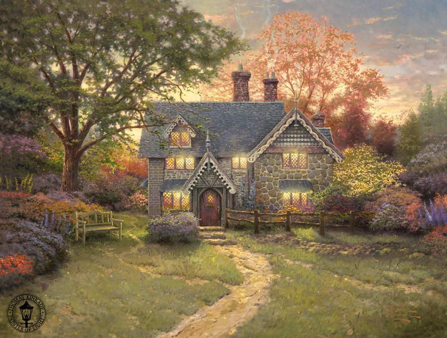 Thomas Kinkade Gingerbread Cottage Painting