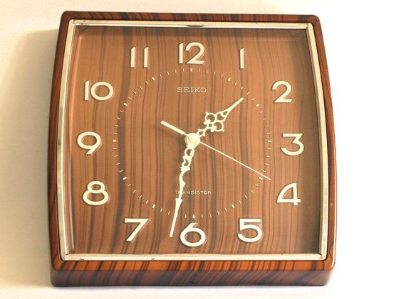 Vintage Seiko Transistor Wall Clock Funky 70s Faux Wood Grain Industrial Clock Works Made In Japan Vintage Wall Clock Funky Wall Clocks Clock