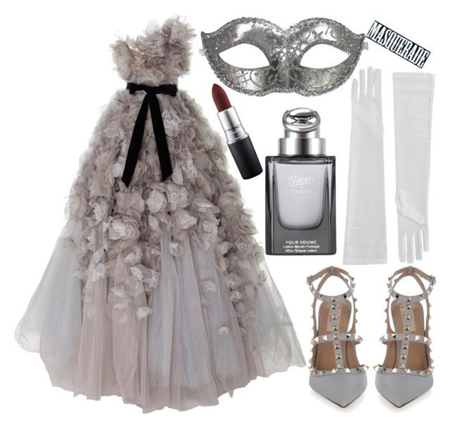 """Masquerade"" by deedee-pekarik ❤ liked on Polyvore featuring Marchesa, Valentino, Gucci, MAC Cosmetics, Masquerade and grey"