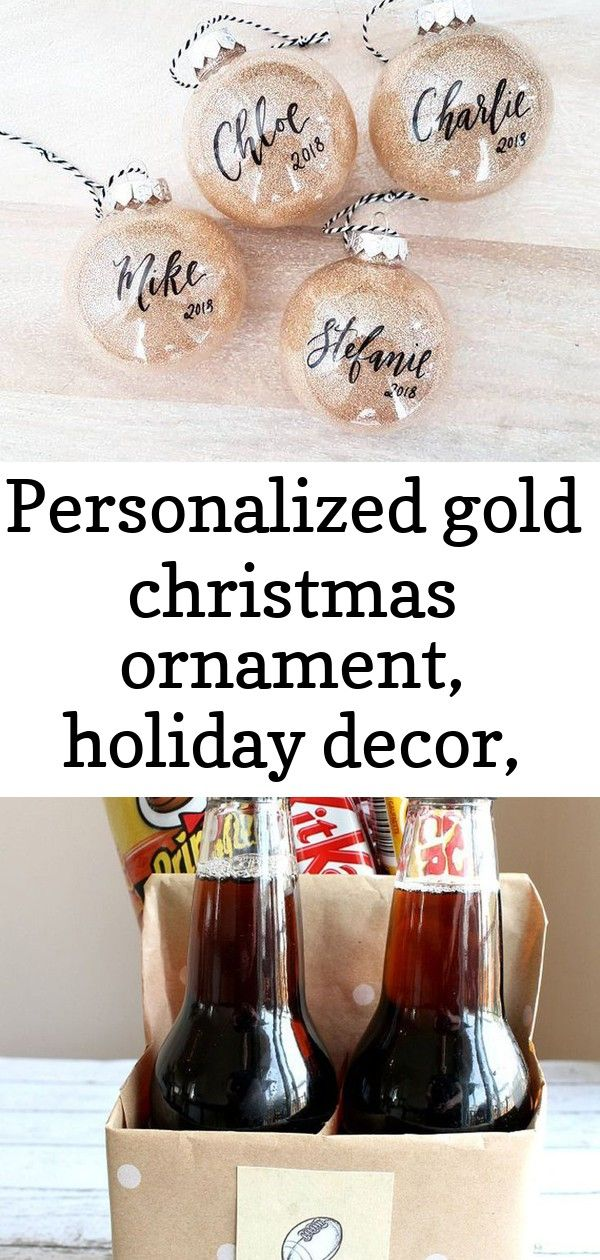 Personalized GOLD CHRISTMAS ORNAMENT Hand Lettered